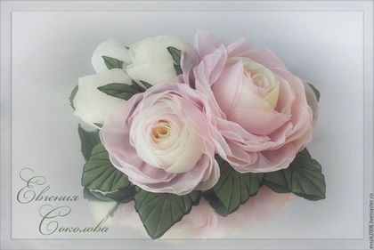 Свадебные украшения ручной работы. Заказать Цветы в причёску. Бело-розовые…