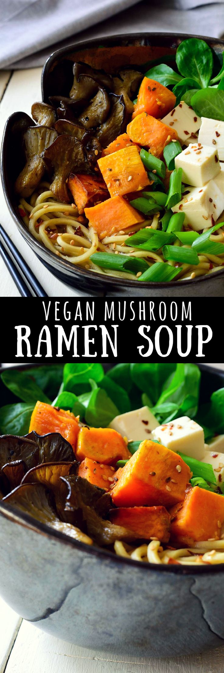 This vegan mushroom ramen soup recipe is replete with the flavours of autumn: fresh mushrooms, sweet potato and leafy greens. Mushroom ramen is just what you need to warm you up when the fall evenings start to get a bit chilly.