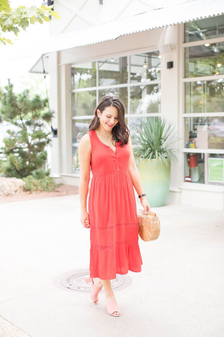 red maxi dress, blush mules, affordable outfits for summer - @MyStyleVita My Style Vita