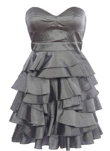 Moonlight Taffeta Dress: Features a sharp sweetheart bust with full padding for comfortable support, nipped and neat banded waist, asymmetrical ruffled layers cascading down the entire skirt, and a centered back zip closure to finish.: Pretty Dresses, Beauty Dresses, Party Dresses, Cute Dresses, Bridesmaid Dresses, Taffeta Dresses, Bridesmaid Idea, Ruffles Layered, Grey Dresses