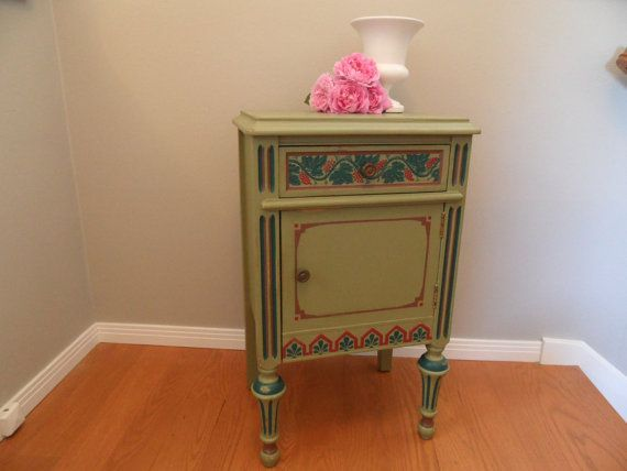 SALE Antique Hand Painted Green End Table Wood Table by RoxysHouse