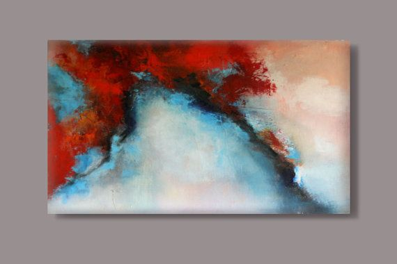 "FREE SHIPPING -LARGE Acrylic painting,abstract,modern painting ,original painting , red , orange, black, pink,blue, white 80x120 cm,32""x44"""