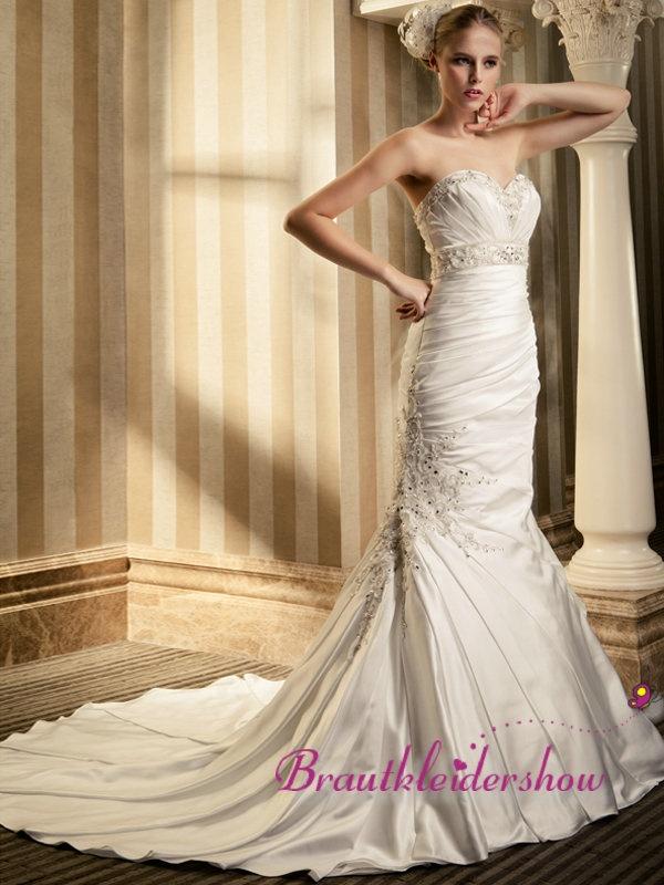 Luxus Meerjungfrau Hochzeitskleid prunkhaft Paillette Schärpe GWRW109 €415.67