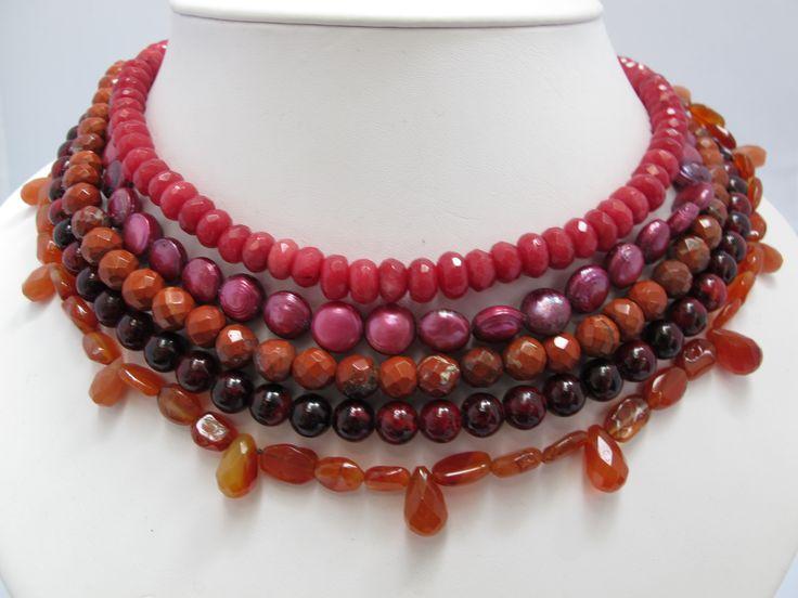 Jasper, red quartz, garnet, ruby and carnelian multi-strand necklace.  Sold at Artwear Jordaan.