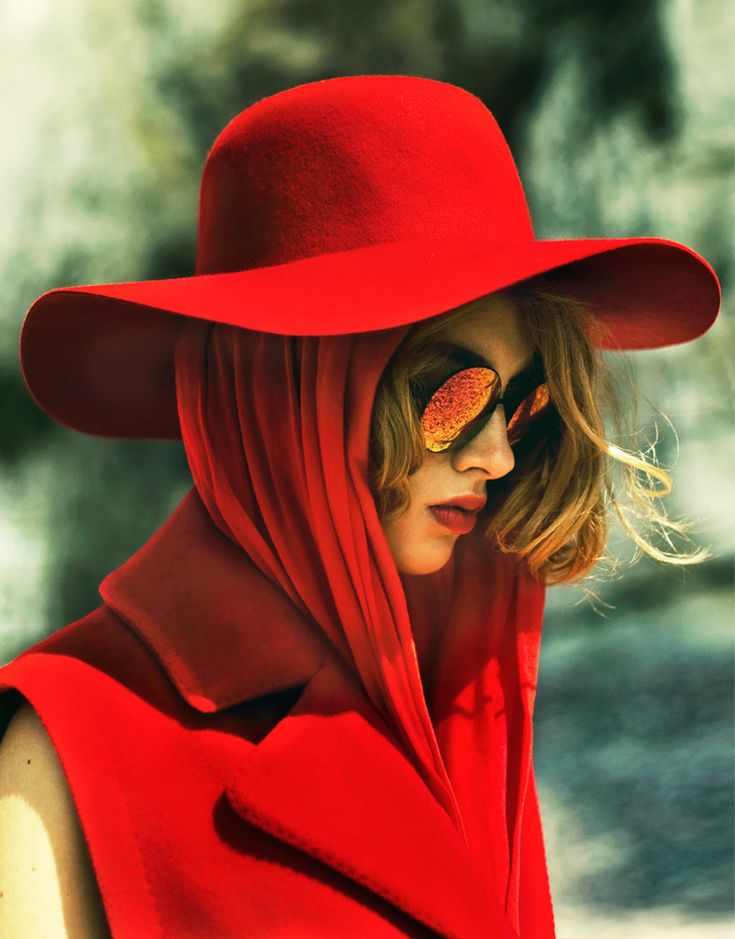 Adeline Jouan Dons Red Looks for SnC September 2012 by Nikolay Biryukov