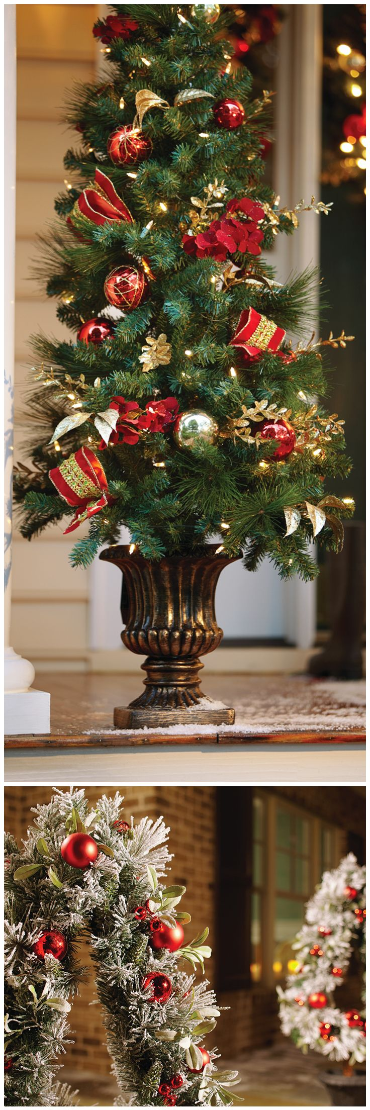 Home gt artificial florals gt holidays gt 60 quot poinsettia amp berry garland - Brighten Up Your Home S Curb Appeal For The Holidays With Beautiful Wreaths Garland And Christmas