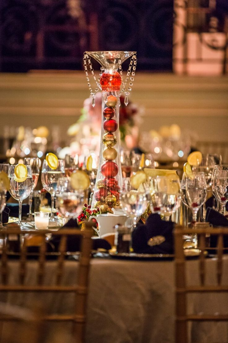 Philadelphia Christmas Inspired Wedding - red ornaments centerpiece