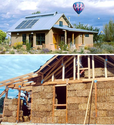 "House with straw bales to insulate it. ""...allows the walls to breathe, preventing moisture accumulation in the straw. Straw bale structures have been found to be remarkably fire- and pest-resistant."""