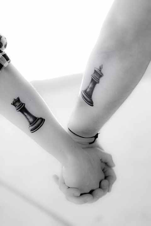 Chess King and Queen Couple tattoo:
