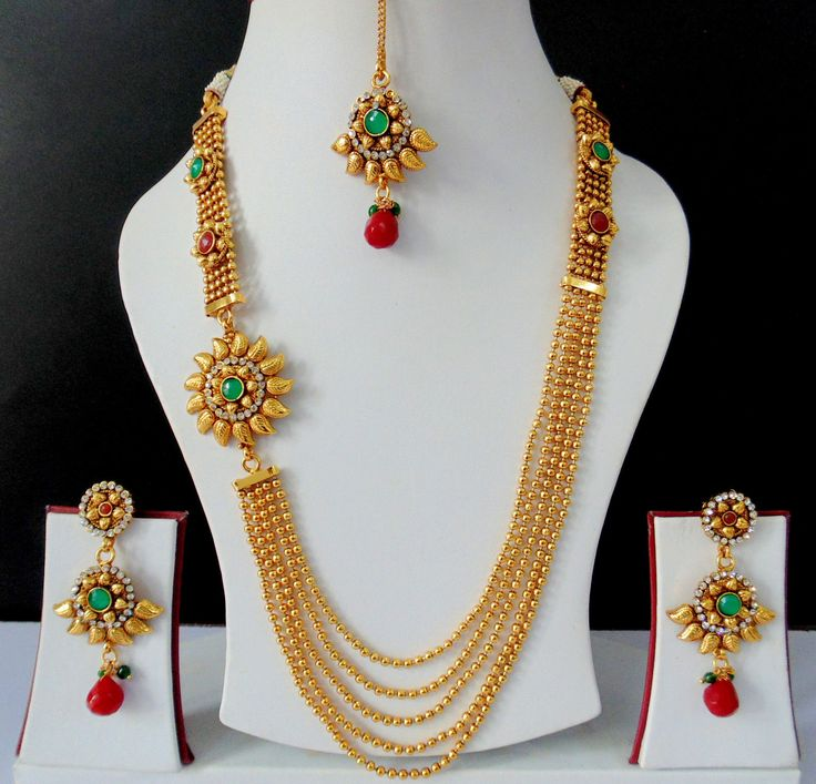 Ethnic Indian Jewelry Bollywood Polki Long Necklace Earrings Tikka Royal.JPG (1600×1537)
