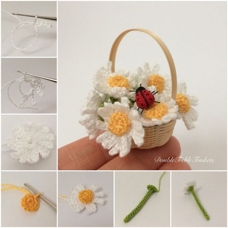 Crocheted daisies - Double Treble Trinkets by Uljana