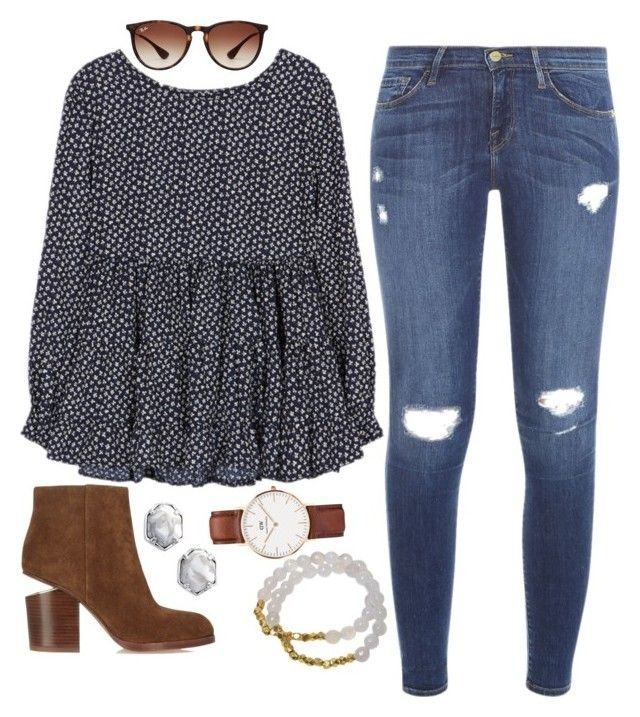 """// dots //"" by jordanawarren ❤ liked on Polyvore featuring Frame Denim, Alexander Wang, Kendra Scott, Electric Picks, Ray-Ban, vintage, women's clothing, women, female and woman"