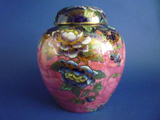 Maling Rose Pink Lustre 'Peony' Ginger Jar and Cover c1930