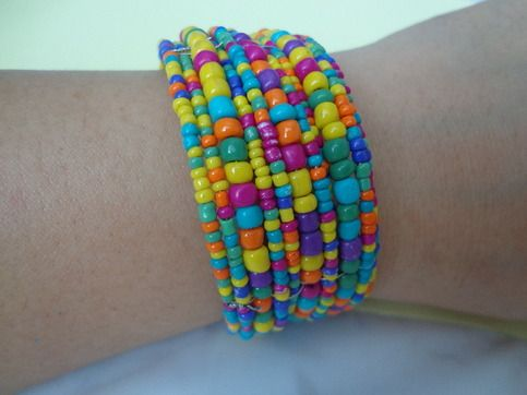 glass-steel mix, multi-layered bracelet, 30mm  colors : blue-green, red-orange, yellow, black, black w/white and mix color.
