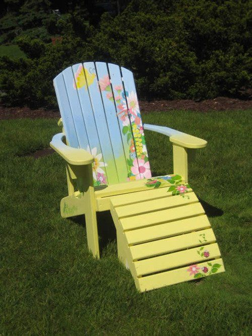 #Adirondack chair. #Silla #Jardin Painted wooden chair for accent a terrace or in the garden @ Muebles NOMAD Mexico