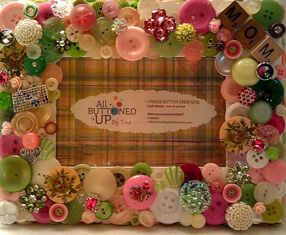 Mother Themed Pink & Green Button Picture by allbuttonedupbytina, $40.00: Idea, Buttons Crafts, Button Crafts, Green Buttons, Theme Pink, Picture Frames, Buttons Pictures, Pictures Frames, Mothers Theme