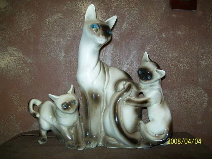 Vintage Mid Century Lane Co 3 Siamese Cats Tv Lamp Blue
