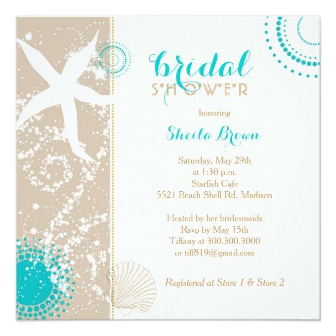 Modern Beach Bridal Shower Card Beach Wedding