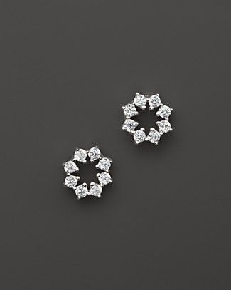 Small Diamond Stud Earrings in 14K White Gold