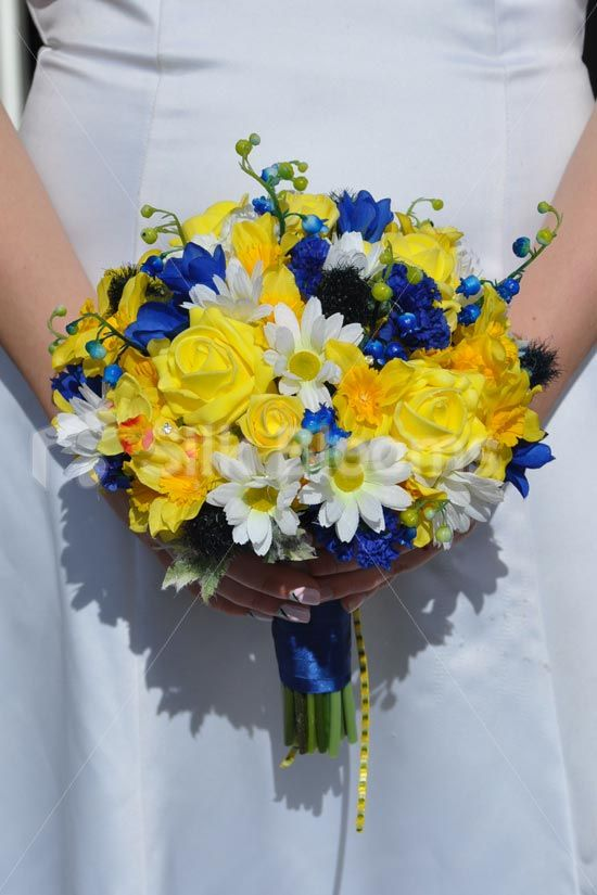 Summery Yellow Daffodil and Rose Bridal Bouquet w/ Blue Lily of the Valley, Thistles and Freesia #artificialflowers #wedding #weddingflowers #bouquet #flowers #bridal #silkflowers