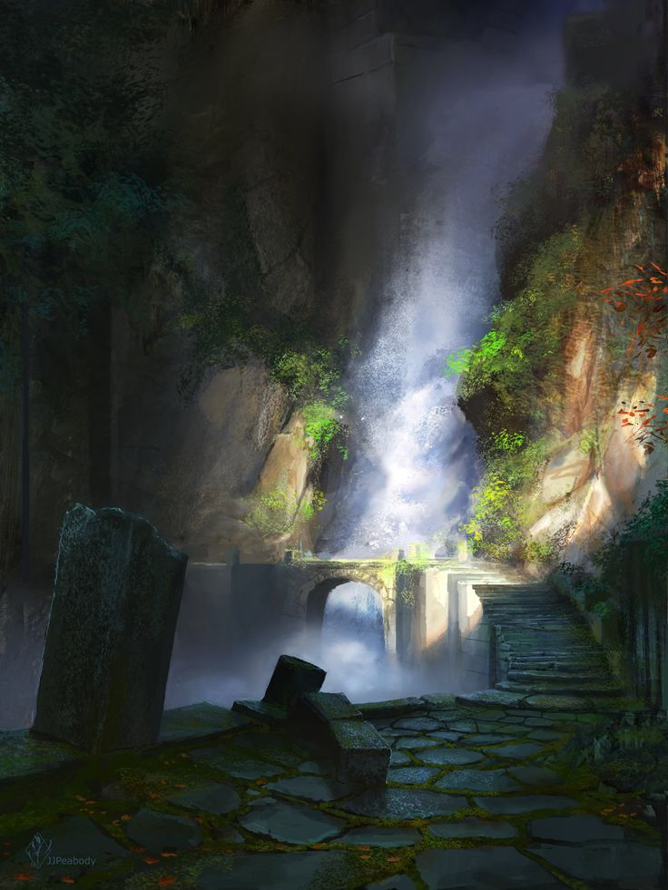 Ancient Waterfall Ruins by jjpeabody.deviantart.com on @DeviantArt