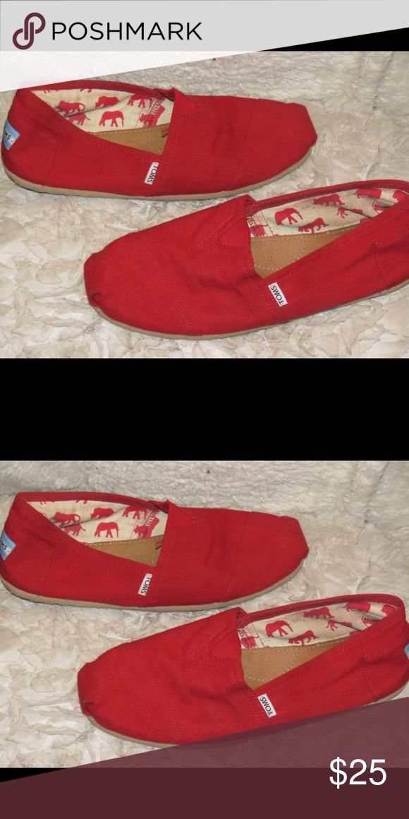 Red Toms Men's 9/10 great condition! No box, 100% authentic though. TOMS Shoes