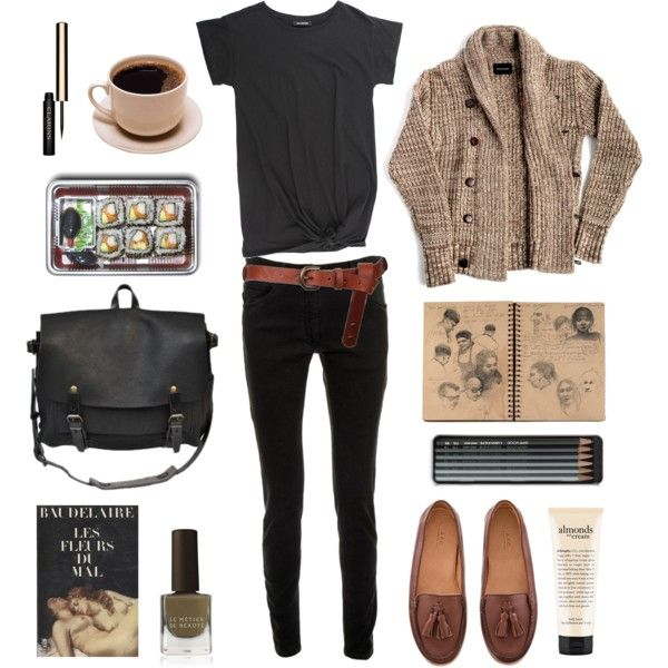 casual cafe wear: black jeggings and tee, with cognac flats and belt + comfy cable cardigan