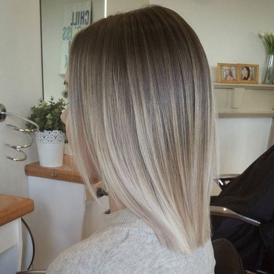 Blunt, Straight Lob Hair Styles , Ash Blonde Balayage Ombre Hairstyle