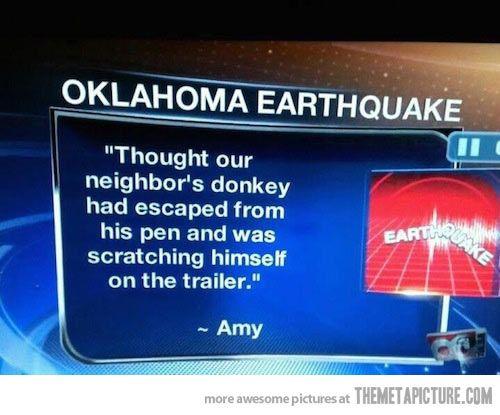 Oklahoma earthquake…