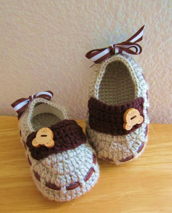 Little Bear Buttoned Wool Crochet Baby Booties 4 by MyMayaMade