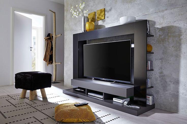 Meuble TV led moderne gris et noir ADAMA 2