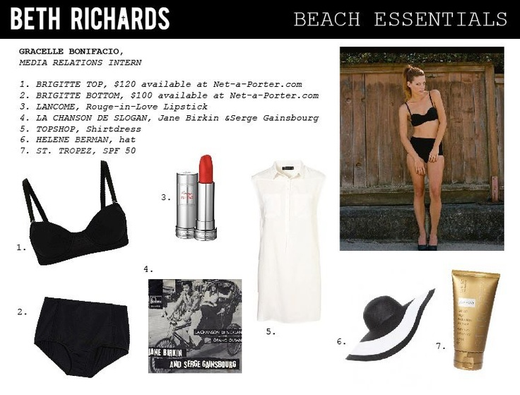 Today's Beach Essentials are chosen by Gracelle, our lovely Media Relations Intern.    The featured Brigitte suit is available at Net-a-Porter http://www.net-a-porter.com/product/196516