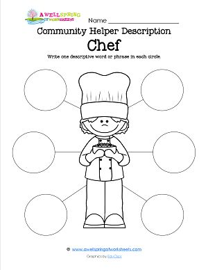 Community Helpers Job Descriptions! Kids may know what they call a community helper (a chef, a teacher, etc.), but can they describe what they do? These bubble maps give you and the kids a chance to brainstorm and write down 6 things each of these 18 community helpers actually does.