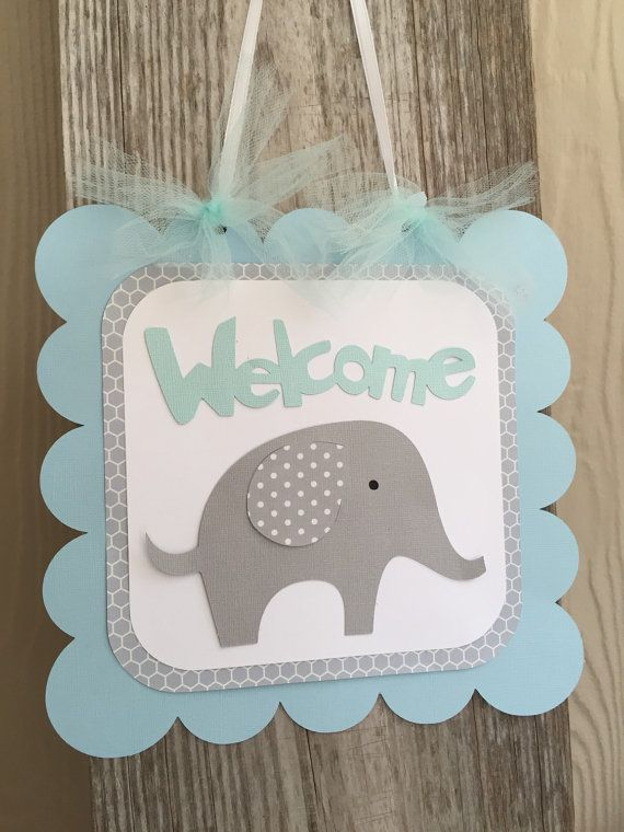 Elephant Baby Shower Sign, Welcome Sign, Blue and Gray Baby Shower Decor, Aqua…