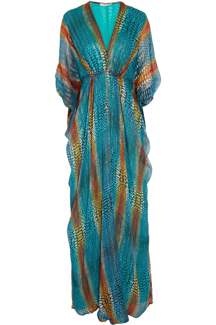 IssaPrinted metallic silk-blend chiffon maxi dress