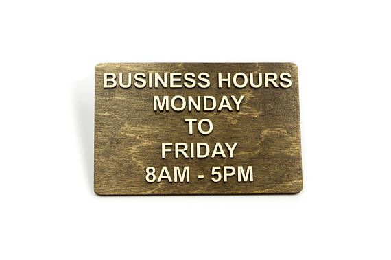 Business Hours Sign Opening Hours Office Restaurant Hotel