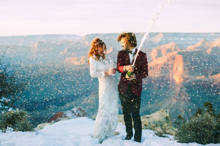 champagne toast in the Grand Canyon