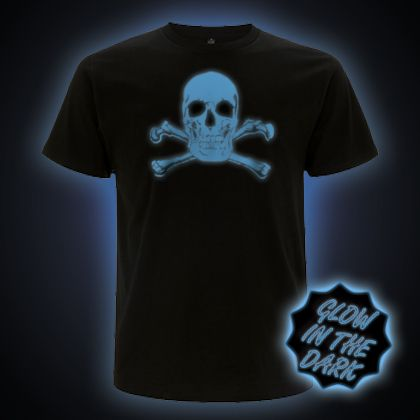 Blue Glow in the Dark Scary Skull T-Shirt