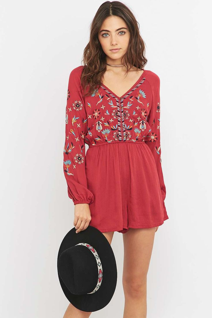 Ecote Embroidered Red Playsuit - Urban Outfitters