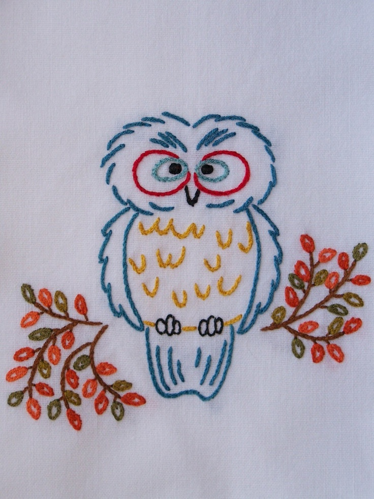 Quirky Retro Owl Hand-Embroidered Tea Towel