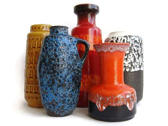 Vintage ceramische vazen West Duits aardewerk set door VintageBreda