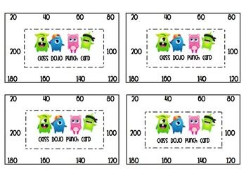 Updated version now in increments of 20, 25, and 30 so you can choose which is best for your class! Class Dojo is amazing!! I print these and give them to my students. In my class students get to pick a reward coupon when they hit increments of 20. This punch card helps my students and I keep track of coupons and makes sure no one is taking advantage of their