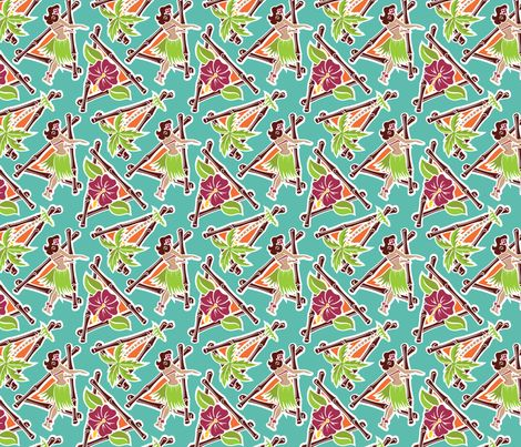 Maui Pop - Hula Honey - Aqua fabric by shannanigan on Spoonflower. Additional colors are available!