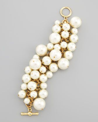 Simulated Pearl Toggle Bracelet by Kenneth Jay Lane at Neiman Marcus.