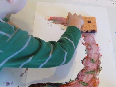 Rainbow sponge painting || Teach Preschool