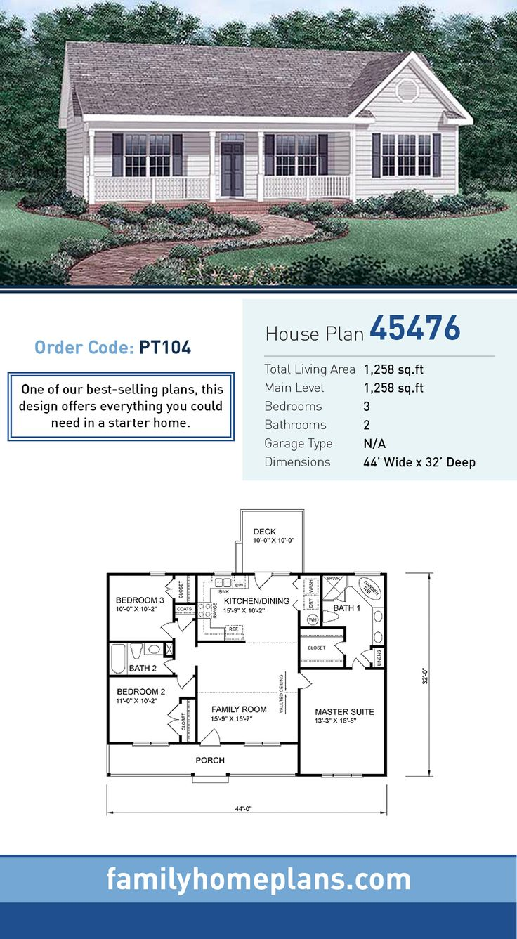 Starter Home Plan 45476 | Total Living Area: 1,258 SQ FT, 3 bedrooms and 2 bathrooms. One if our best-sellers, this design offers everything you could need in a starter home. #starterhome