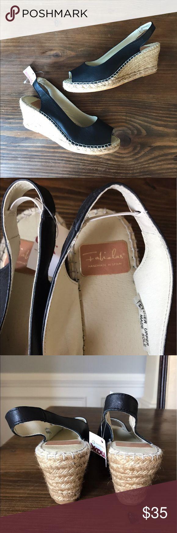 Fabiola's Black Peep Toe Wedge size 9 Super cute and flirty, Black Peep Toe Wedge shoe. Brand new Fabiolas - handmade in Spain Size 9! fabiolas Shoes Wedges