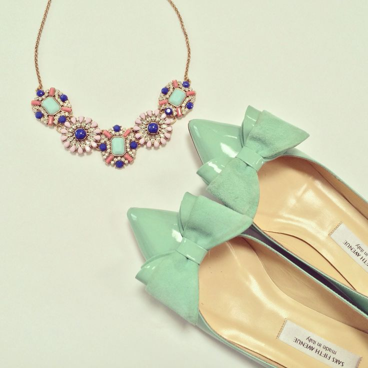 Mint bow flats and statement necklace