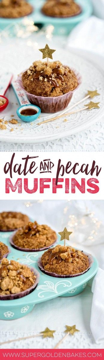 These fragrant spiced ginger, date and pecan muffins with streusel topping are perfect for breakfast or an afternoon pick-me-up with a cup of tea or coffee | Supergolden Bakes
