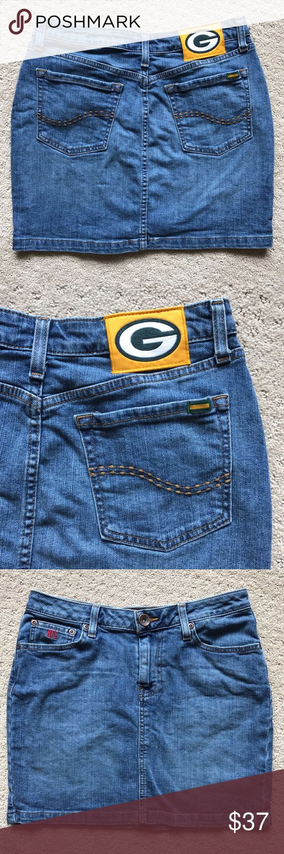Green Bay Packers NFL Blitz Skirt by Team Apparel This Green Bay Packers skirt is in excellent used condition and a must have for any Packer fan!  NFL Blitz Mini by Team Apparel.  Denim with a GB Packers patch on the back. Embroidered NFL on the pocket.  Size 6.  Waist flat 14.5.  Length from top to bottom 15.  98 cotton, 2 spandex.  From a smoke free, pet friendly home. NFL Team Apparel Skirts Mini